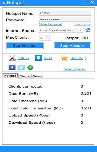 تحديد اسم الشبكة وكلمة المرور بعد تحميل برنامج واي فاي للكمبيوتر mhotspot لبث وتوزيع النت للموبايل