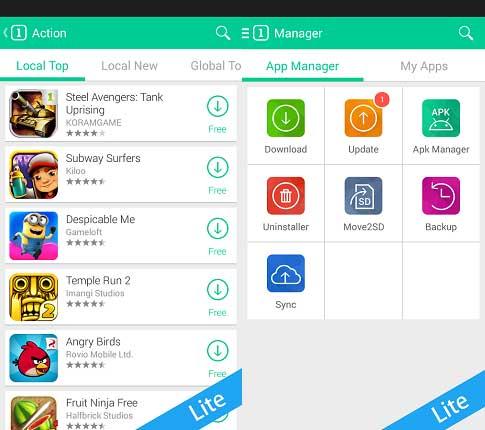 تحميل وادارة التطبيقات والالعاب والبرامج - تحميل ون موبايل ماركت لايت 1Mobile Market Lite