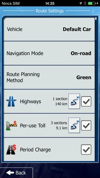 يمكنك من خلال الاعدادات التحكم فى السيارة والاتجاهات والسرعة - تطبيق تحديد المواقع بدون انترنت