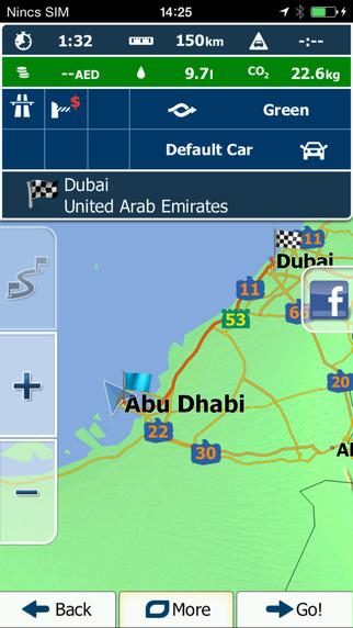 يظهر لك المواقع وبشكل مفصل ويمكنك النشر على الفيس بوك -برنامج ايجو Igo نسخة الشرق الاوسط