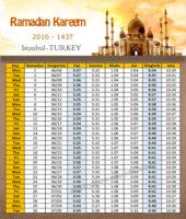 امساكية رمضان اسطنبول تركيا 2016 - Imsakia Ramadan Istanbul Turkey