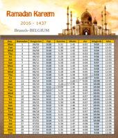 امساكية رمضان بروكسل بلجيكا 2016 - Imsakia Ramadan Brussels Belguim