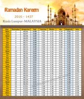 امساكية رمضان كوالالمبور ماليزيا 2016 - Imsakia Ramadan Kuala Lumpur Malaysia
