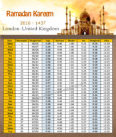امساكية رمضان لندن بريطانيا 2016 - Imsakia Ramadan London England