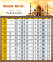 امساكية رمضان مدريد اسبانيا 2016 - Imsakia Ramadan Madrid Spain