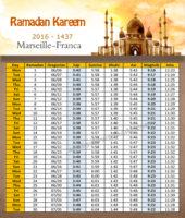 امساكية رمضان مرسيليا فرنسا 2016 - Imsakia Ramadan Marseille France