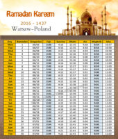 امساكية رمضان وارسو بولندا 2016 - Imsakia Ramadan Warsaw Poland