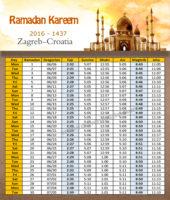 امساكية رمضان زغرب كرواتيا 2016 - Imsakia Ramadan Croatia Zagreb
