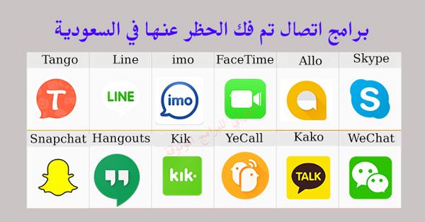 برامج اتصال تم فك الحظر عنها في السعودية