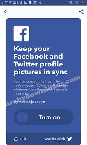 تحميل تطبيق IFTTT للأندرويد ربط حسابات الفيس بوك وتويتر