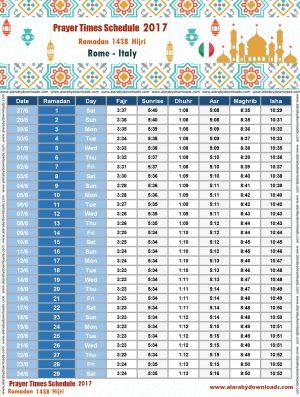 امساكية رمضان 2017 روما ايطاليا تقويم 1438 Ramadan Imsakia