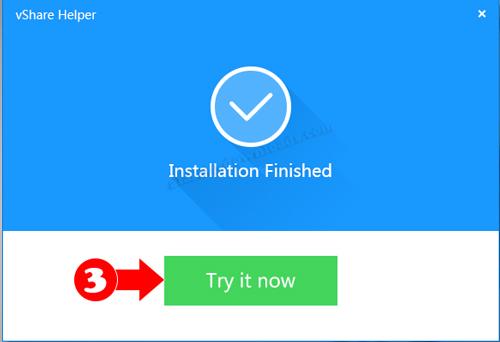 اختر Try it Now لتشغيل برنامج vShare للكمبيوتر - vshare تحميل اصلي للكمبيوتر