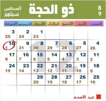 موعد بداية شهر ذي الحجة ويوم عرفة وعيد الاضحى المبارك 1438 هجري 2017 ميلادي