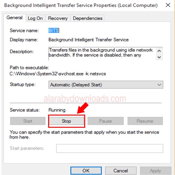2-ستظهر قائمة بالخدمات Services قم باختيار Background Intelligence transferred وقم بالضغط من الزر الايمن واختر الخصائص Properties.