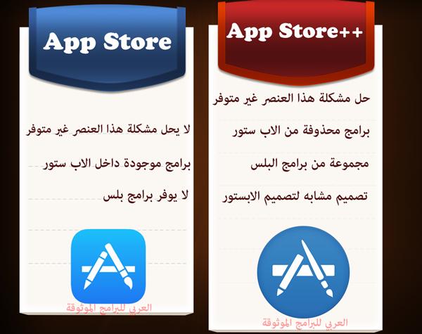 الفروقات بين الابستور الاصلي وبرنامج App Store++ للايفون - تحميل متجر ++App Store للايفون