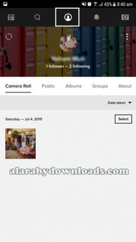 الصفحة الشخصية لبرنامج flickr للجوال _ تنزيل برنامج flickr