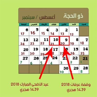 التقويم الهجري 1439 والميلادي 2018 للكمبيوتر والجوال ومواعيد الإجازات الرسمية في السعودية