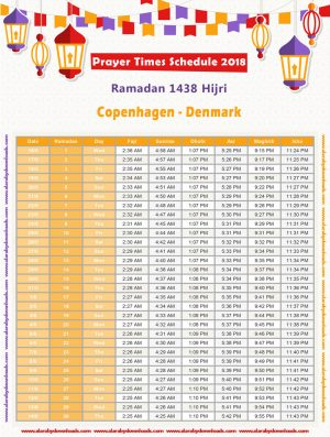امساكية رمضان 2018 كوبنهاجن الدانمارك تقويم 1439 Ramadan Imsakia