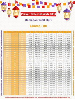 تحميل امساكية رمضان 2018 لندن بريطانيا Ramadan England