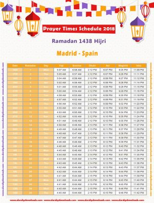 امساكية رمضان 2018 مدريد اسبانيا