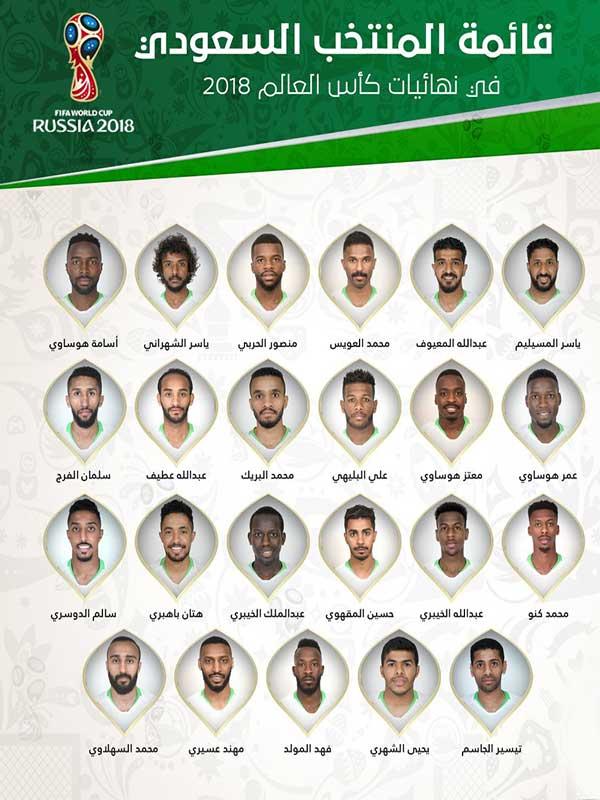 مواعيد مباريات المنتخب السعودي في كأس العالم 2018 بتوقيت السعودية