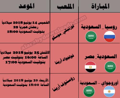 موعد مباريات السعودية في كأس العالم 2018