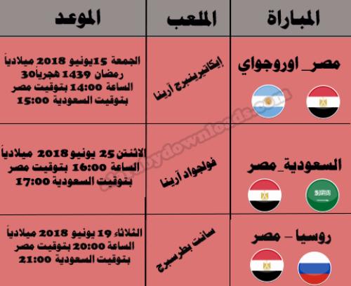 موعد مباريات مصر في كأس العالم 2018