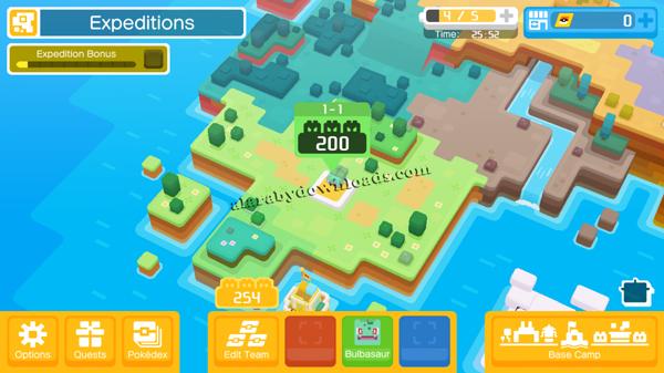 المخيم الخاص بك في لعبة بوكيمون كويست البحث عن البوكيمونات
