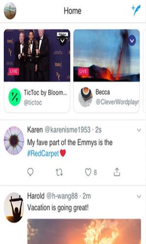 إضافة قنوات البث المباشر والأخبار العاجلة في تحديث تويتر 2018