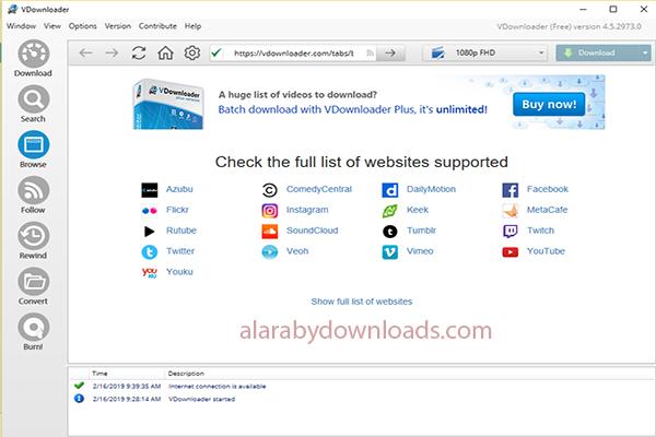 برنامج تحميل الفيديوهات من الانترنت للكمبيوتر Vdownloader