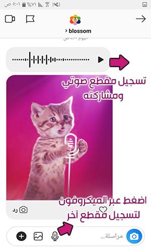 تسجيل مقطع صوتي عبر الانستقرام أحدث اصدار وارساله ضمن اارسائل الخاصة