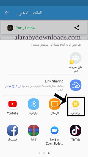 مشاركة مقاطع الفيديو في حالة واتساب بلس الذهبي للموبايل