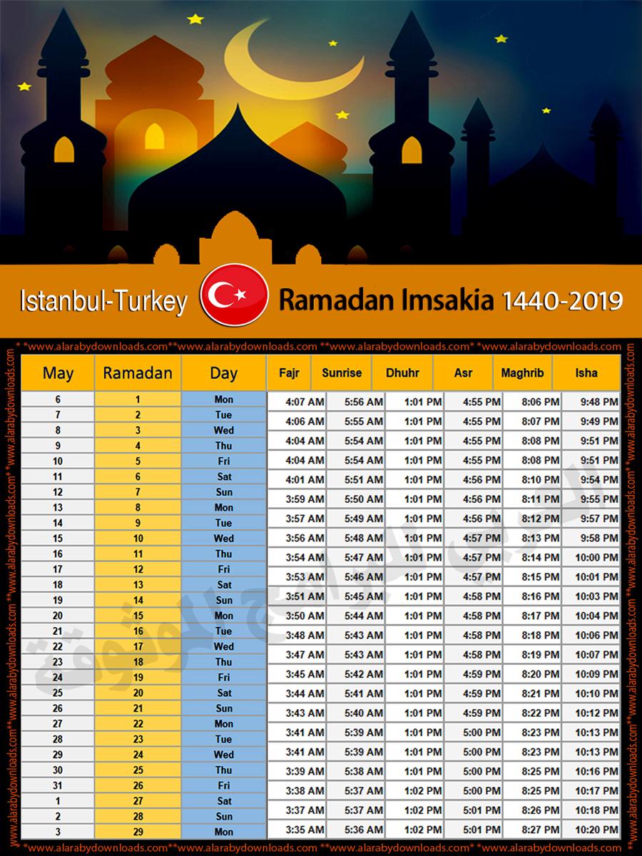 امساكية رمضان 2019 اسطنبول تركيا تقويم رمضان 1440 Imsakia Ramadan Istanbul