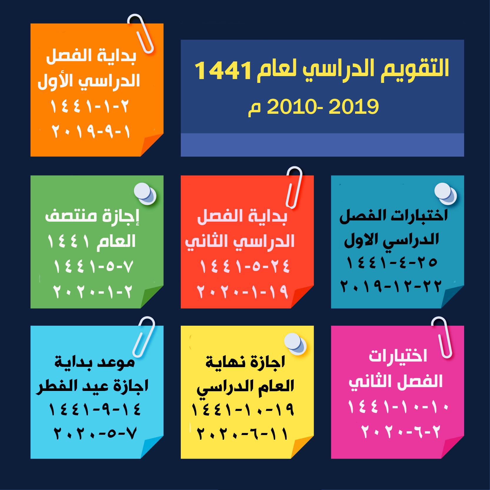 تحميل التقويم الدراسي 1441 وزارة التربية والتعليم السعودية