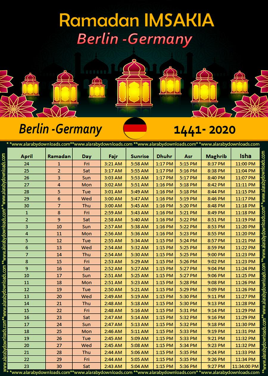 تحميل امساكية رمضان 2020 برلين المانيا 1441 Ramadan Imsakiye