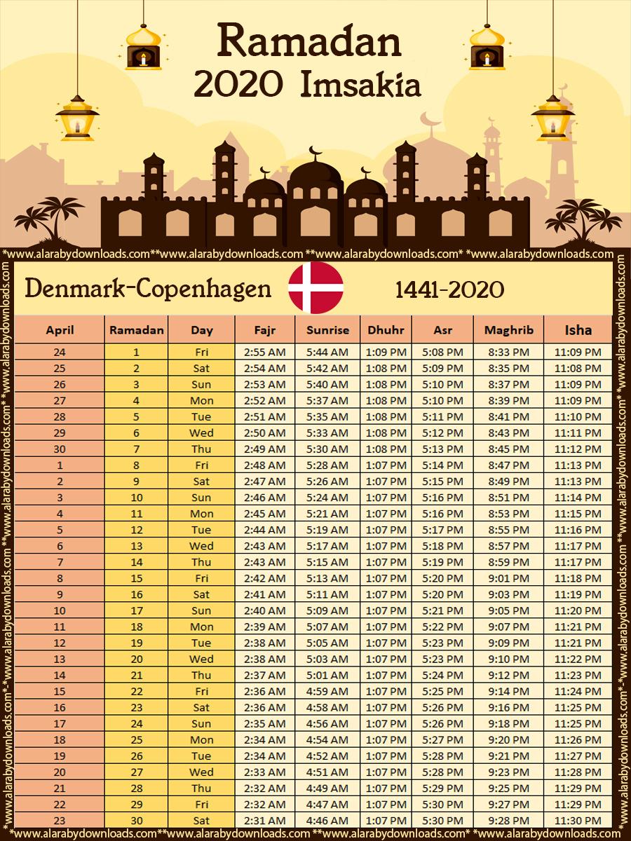 تحميل امساكية رمضان 2020 الدنمارك كوبنهاجن