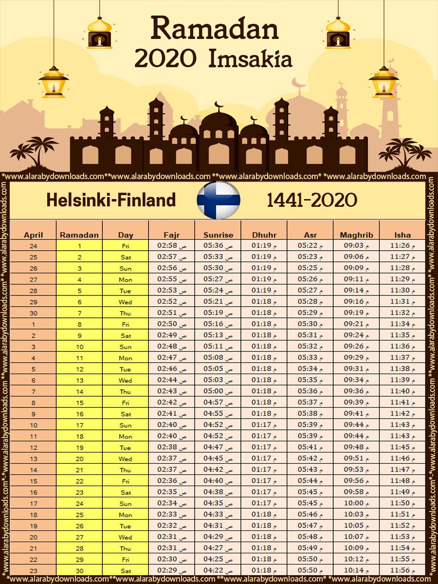 تحميل امساكية رمضان 2020 هلسنكي فنلندا تقويم 1441 Ramadan Imsakia Helsinki Finland