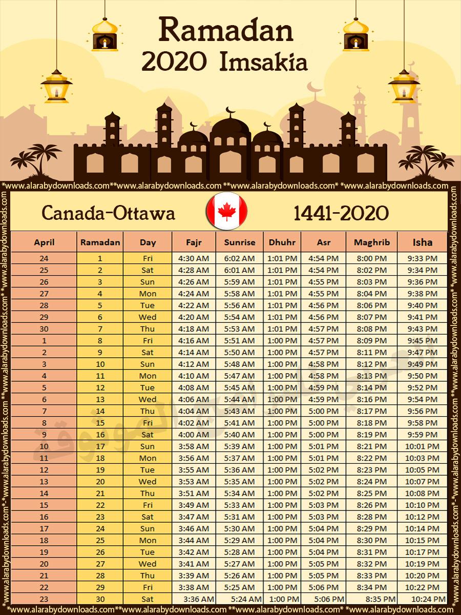 تحميل امساكية رمضان 2020 أوتاوا كندا تقويم 1441هجري Amsakah Ottawa Canada