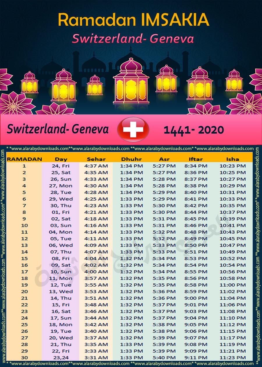 تحميل امساكية رمضان 2020 سويسرا جنيف تقويم رمضان 1441 Ramadan Switzerland