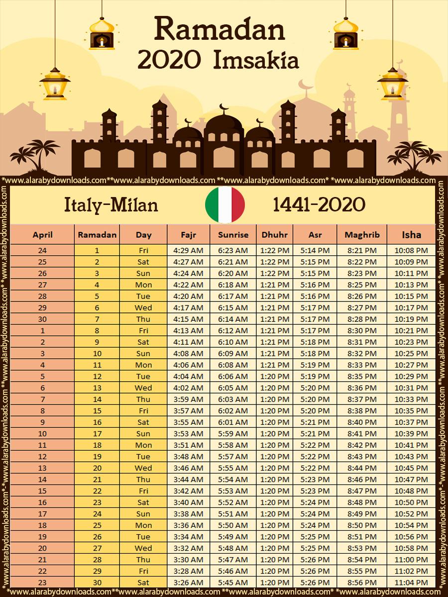 تحميل امساكية رمضان 2020 ميلان ايطاليا تقويم 1441 Ramadan Imsakia Milan Italy