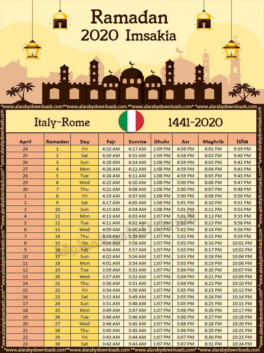 تحميل امساكية رمضان 2020 روما ايطاليا تقويم 1441 Ramadan Imsakia Rome Italy