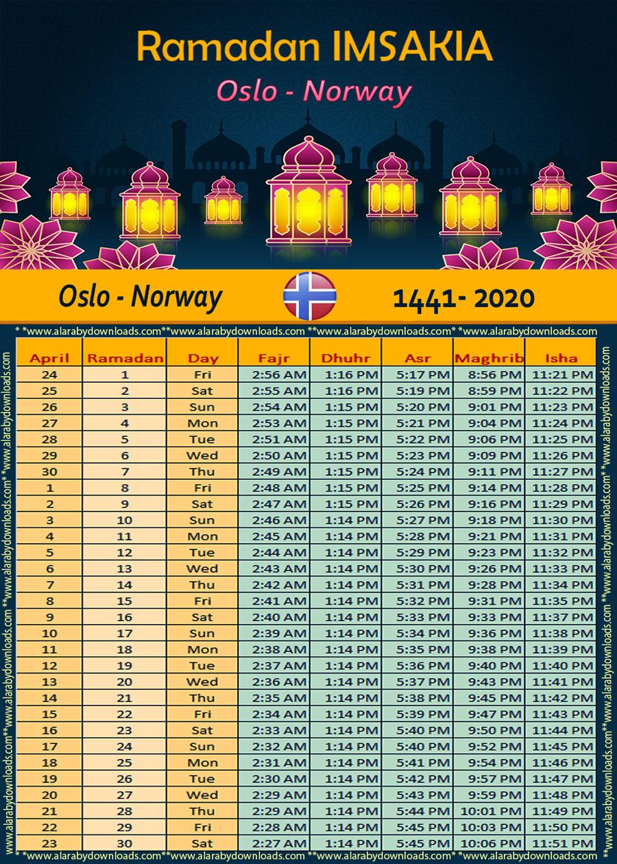 تحميل امساكية رمضان 2020 اوسلو النرويج 1441Ramadan Kalendar
