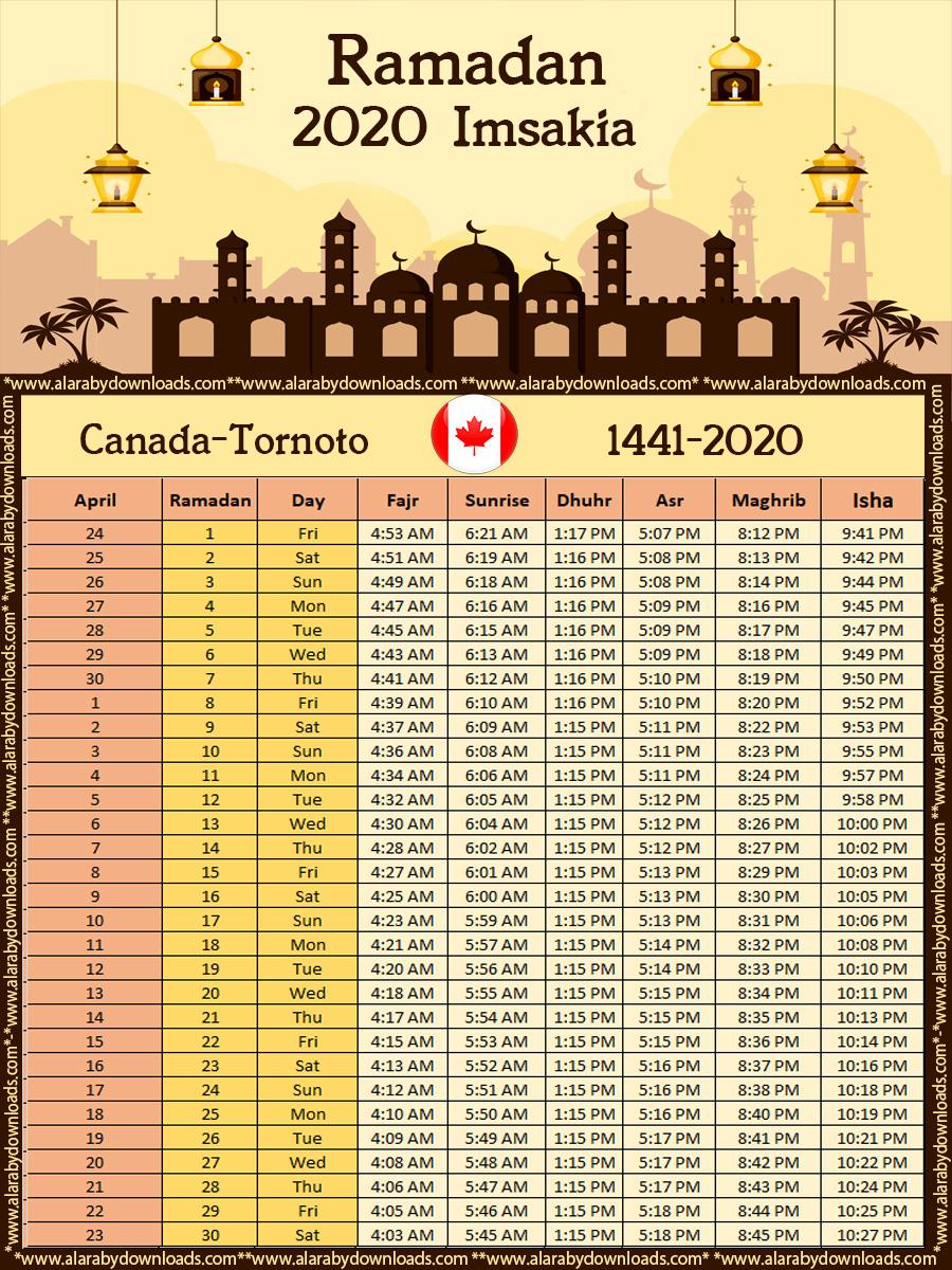 تحميل امساكية رمضان 2020 تورنتو كندا حسب تقويم 1441 هجري Imsakia Toronto Canada