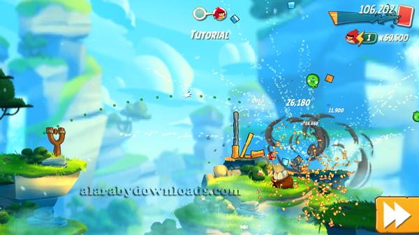 تدمير ابراج الخنازير في لعبة انقري بيرد للايفون ، تحميل لعبة انجري بيرد للايفونAngry Birds 2